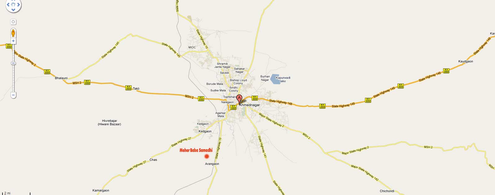 Raod Map of Ahmednagtar >> Arangaon Village >> (Meherabad)