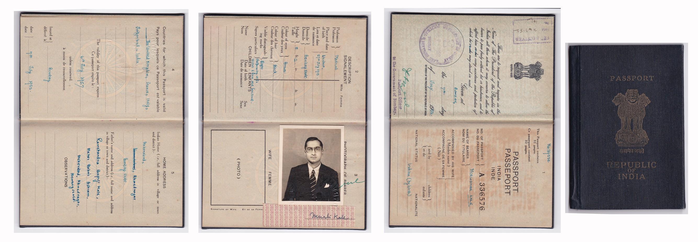Murli Kale passport at Meher Baba Ashram Meherabad